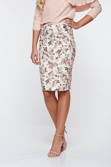 PrettyGirl cream high waisted office pencil skirt cotton