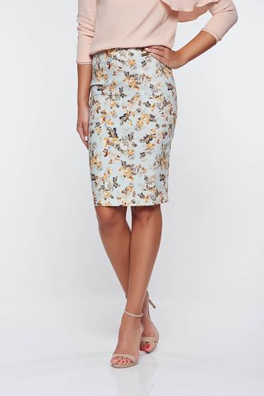 PrettyGirl lightblue high waisted office pencil skirt cotton