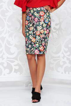 PrettyGirl black high waisted office pencil skirt cotton