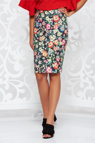 PrettyGirl black high waisted office pencil skirt cotton
