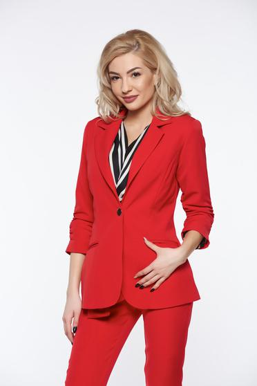 PrettyGirl red tented office jacket with inside lining with pockets from non elastic fabric
