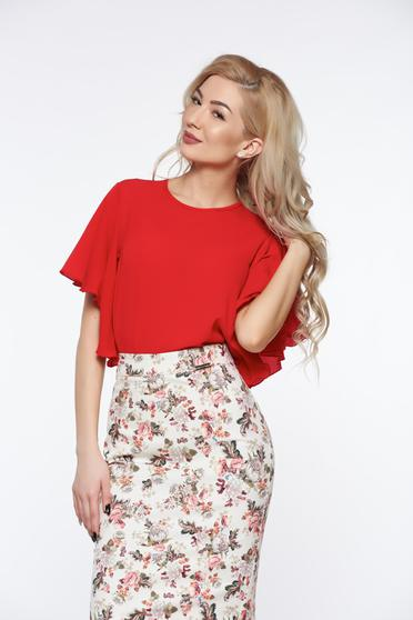 PrettyGirl red elegant women`s blouse airy fabric with easy cut slightly transparent fabric
