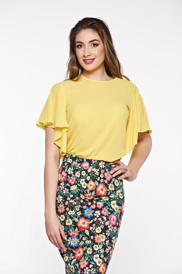PrettyGirl yellow elegant women`s blouse airy fabric with easy cut slightly transparent fabric