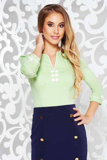 Fofy lightgreen women`s shirt office elastic cotton with embroidery details