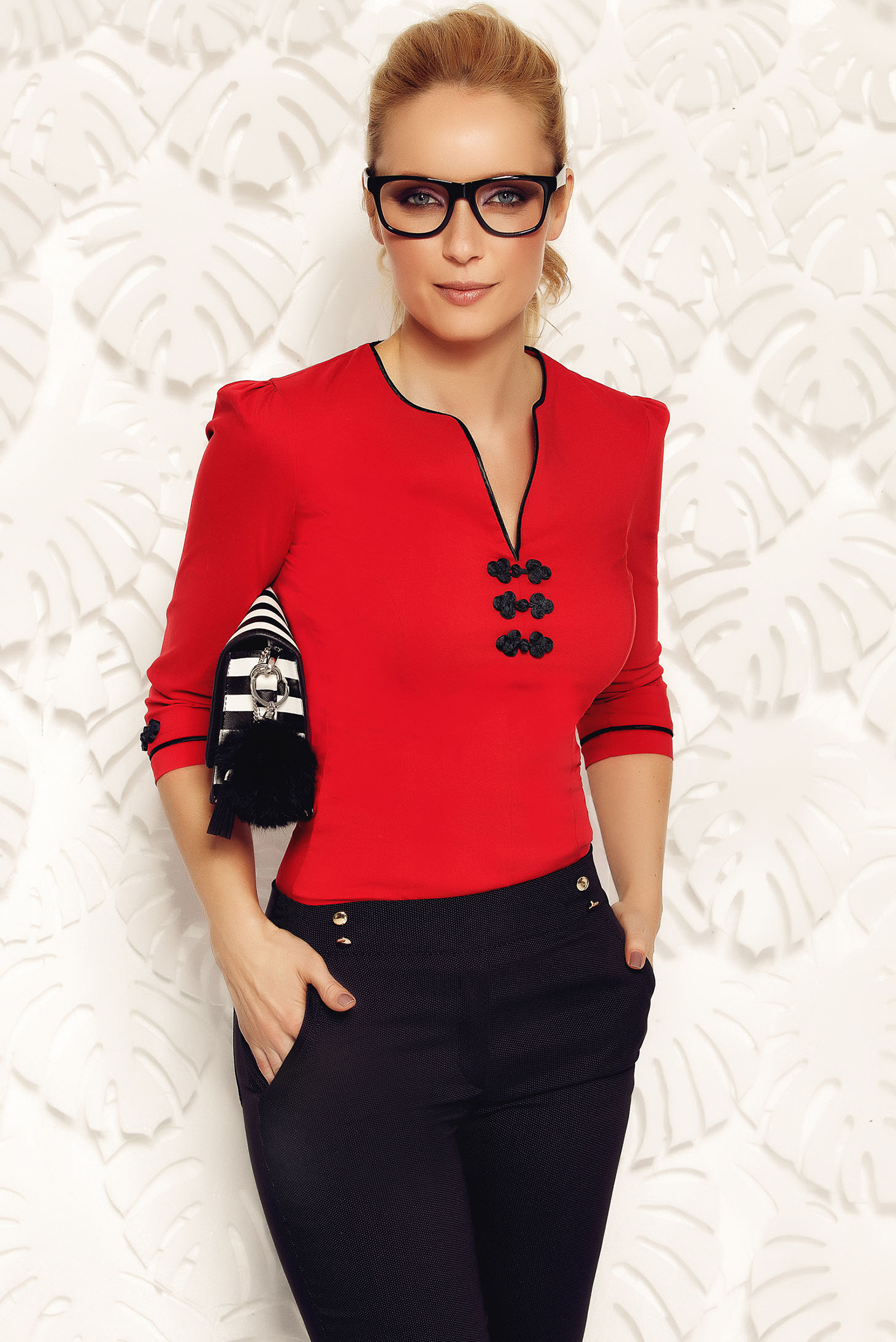 Fofy red women`s shirt office elastic cotton with embroidery details