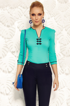 Fofy green women`s shirt office elastic cotton with embroidery details
