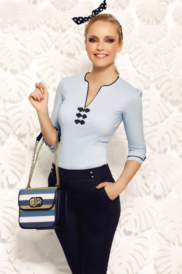 Fofy blue women`s shirt office elastic cotton with embroidery details