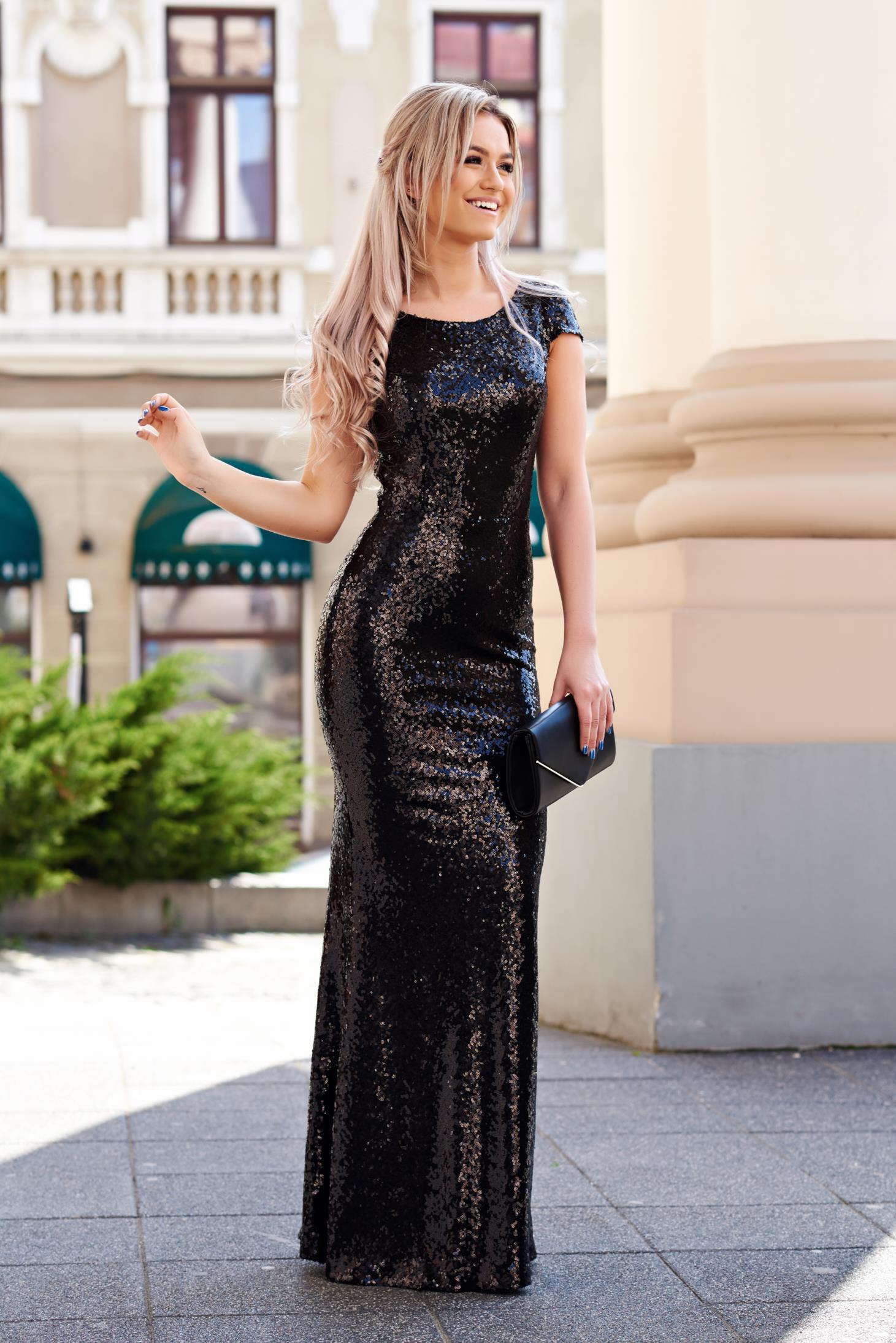Fekete StarShinerS szirén tipusú alkalmi ruha flitter enyhén rugalmas anyag belső  béléssel 343d07f8d8