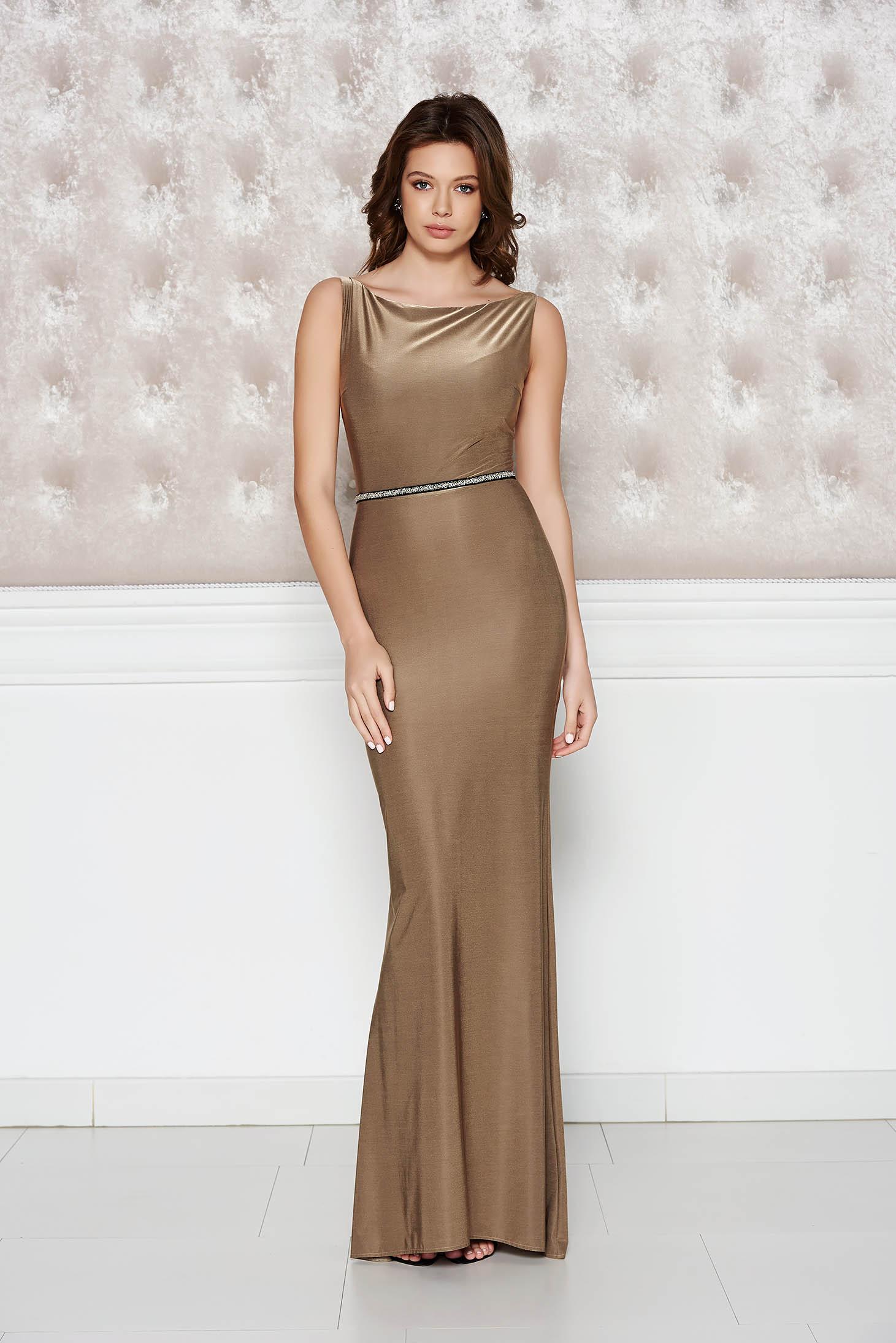 Barna StarShinerS alkalmi ruha fényes anyag rugalmas anyag szirén tipusú a93e32514d