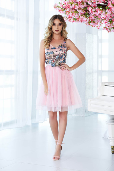 StarShinerS rosa occasional cloche dress from tulle with inside lining with embroidery details with sequin embellished details