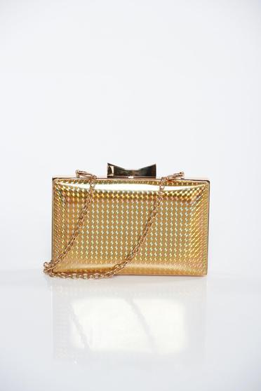 Gold bag clutch long chain handle