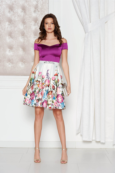 StarShinerS purple occasional dress from satin fabric texture with inside lining with embellished accessories