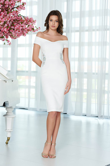 StarShinerS white dress elegant pencil slightly elastic fabric with inside lining with crystal embellished details