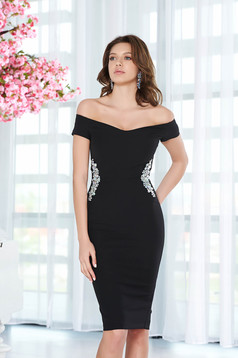 StarShinerS black dress elegant pencil slightly elastic fabric with inside lining with crystal embellished details