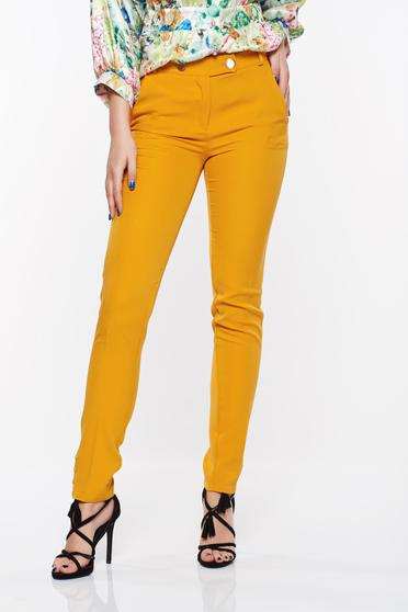 PrettyGirl mustard trousers office conical slightly elastic fabric with medium waist with pockets
