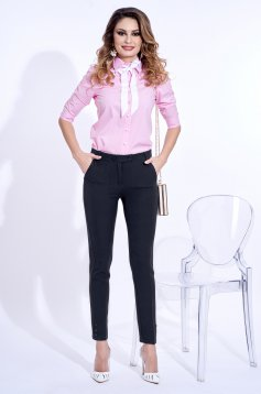 PrettyGirl darkblue trousers office conical slightly elastic fabric with medium waist with pockets
