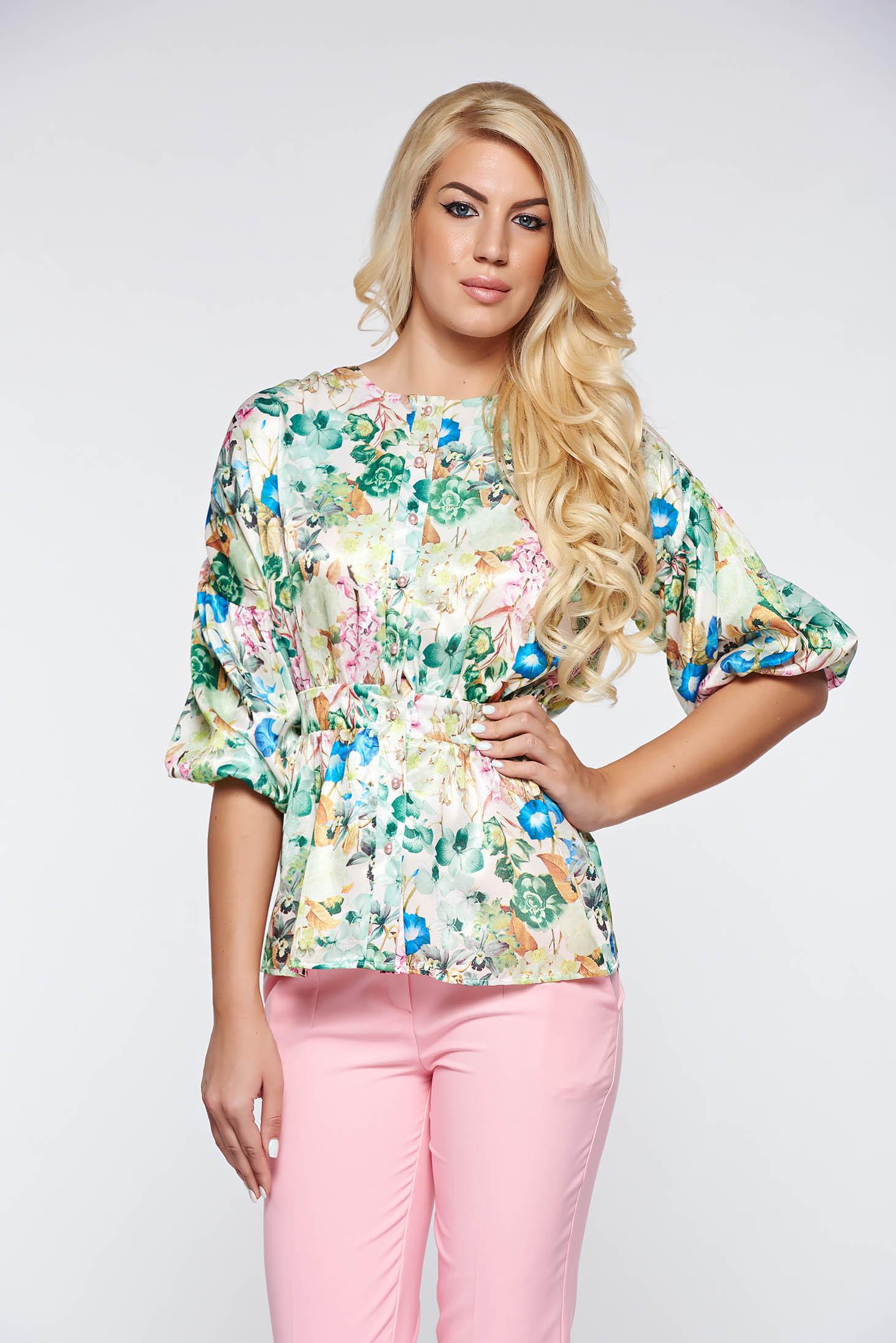 Bluza dama PrettyGirl verde-deschis eleganta eleganta din material satinat si vaporos cu maneci bufante si peplum