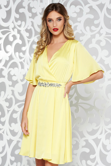 StarShinerS yellow occasional dress from satin fabric texture with inside lining accessorized with tied waistband with embellished accessories
