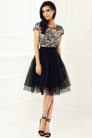 StarShinerS black occasional cloche dress from tulle with inside lining with embroidery details with sequin embellished details