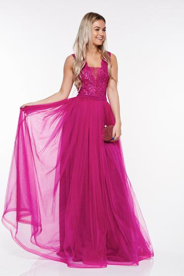 LaDonna fuchsia occasional dress from tulle with lace details with inside lining with sequin embellished details