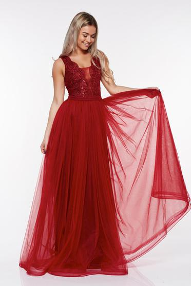 LaDonna burgundy occasional dress from tulle with lace details with inside lining with sequin embellished details