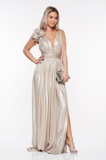 LaDonna gold occasional dress from shiny fabric slightly elastic fabric with deep cleavage handmade applications