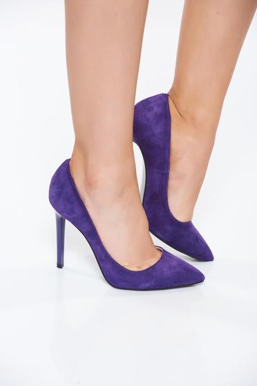 Purple elegant shoes natural leather slightly pointed toe tip with high heels