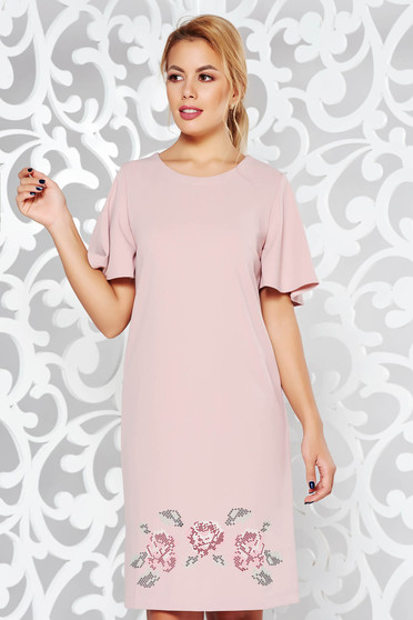 StarShinerS rosa elegant flared embroidered dress from elastic fabric