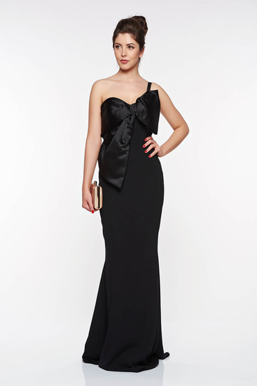 Ana Radu black luxurious dress from non elastic fabric mermaid with push-up cups