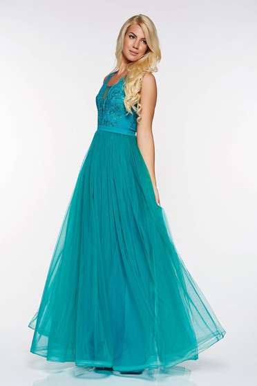 LaDonna turquoise occasional dress from tulle with lace details with inside lining with sequin embellished details