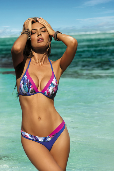 Blue swimsuit triangle bra normal bikinis with push-up cups