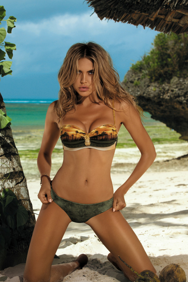 Khaki swimsuit with balconette bra normal bikinis adjustable straps detachable straps with push-up cups