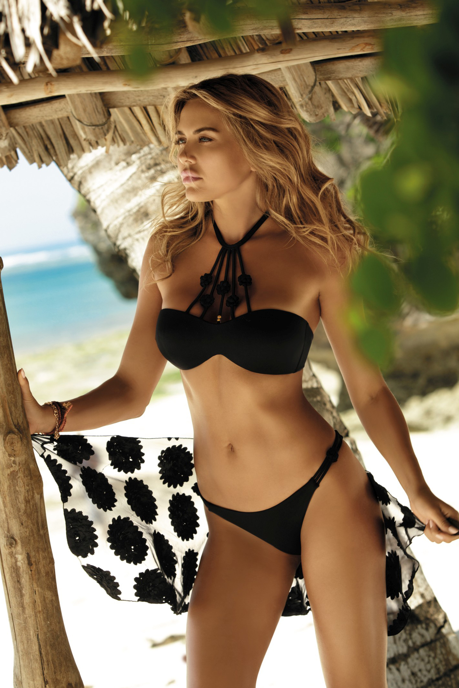 Black swimsuit with classical slip with bandeau bra with embroidery details bra with detachable pads