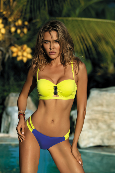 Yellow swimsuit brazilian bikinis with balconette bra with push-up bra detachable straps adjustable straps