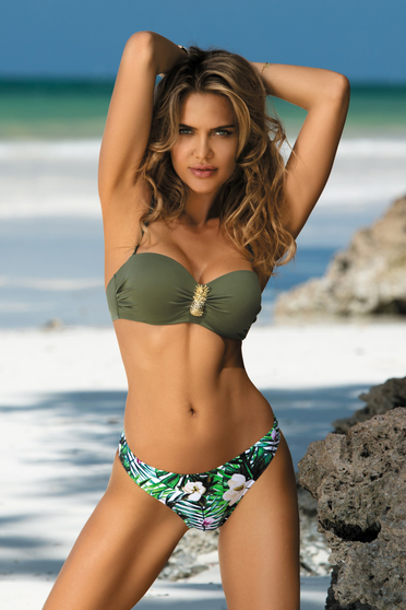 Darkgreen swimsuit with balconette bra with push-up cups adjustable straps with classical slip detachable straps