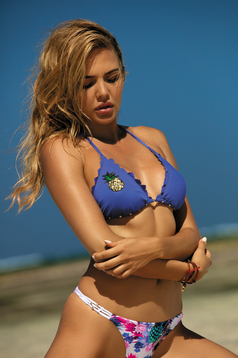 Blue swimsuit triangle bra brazilian bikinis with sequin embellished details bra with detachable pads
