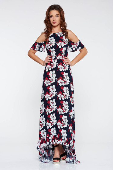 StarShinerS darkblue daily asymmetrical dress both shoulders cut out thin fabric with floral prints