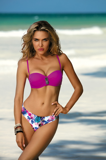 Pink swimsuit with balconette bra with push-up cups adjustable straps with classical slip detachable straps