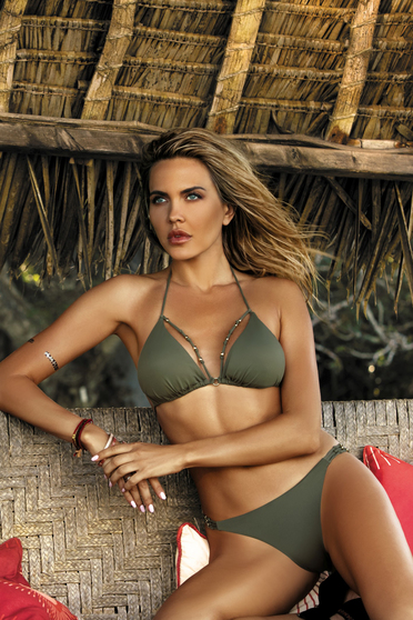 Khaki swimsuit brazilian slip triangle bra with straps with push-up cups with metal accessories