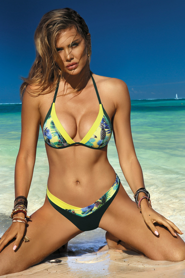 Yellow swimsuit triangle bra normal bikinis with push-up cups