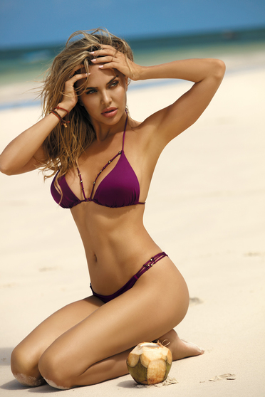 Purple swimsuit brazilian slip triangle bra with straps with push-up cups with metal accessories