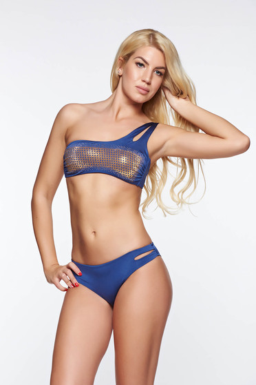 Blue swimsuit with classical slip with bandeau bra with cut out material golden metallic details