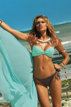 Mint cardigan beach wear from tulle with crystal embellished details
