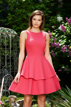 StarShinerS pink elegant cloche dress slightly elastic fabric with ruffle details