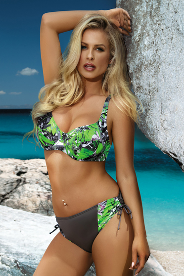 Green swimsuit with classical slip with normal bra from elastic and fine fabric adjustable straps