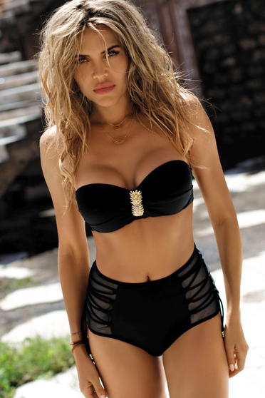 Black swimsuit with push-up bra high waisted with classical slip with balconette bra