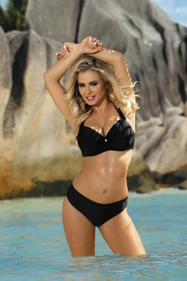 Black swimsuit with classical slip with normal bra with push-up cups adjustable straps