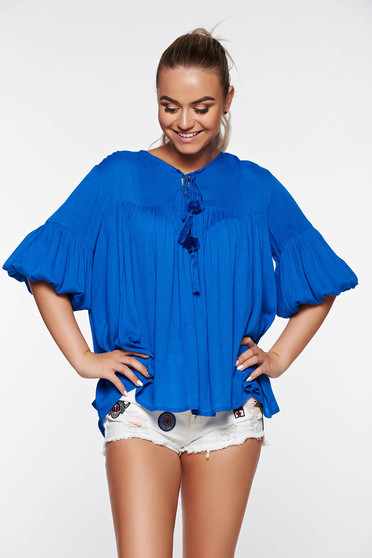 Top Secret blue women`s blouse casual flared airy fabric with laced details