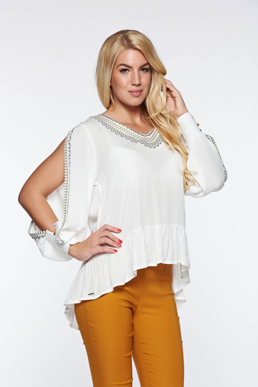 Top Secret white women`s blouse casual flared airy fabric nonelastic fabric with cut-out sleeves