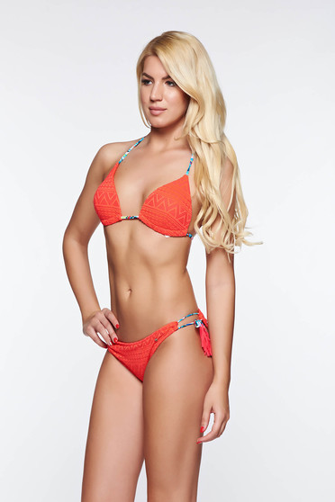 Top Secret red bathing bra triangle bra with push-up cups with straps with tassels